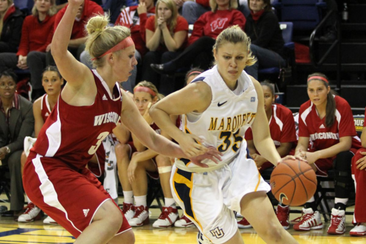Cristina Bigica came through with late free throws to push Marquette to their first Big East win of the season.