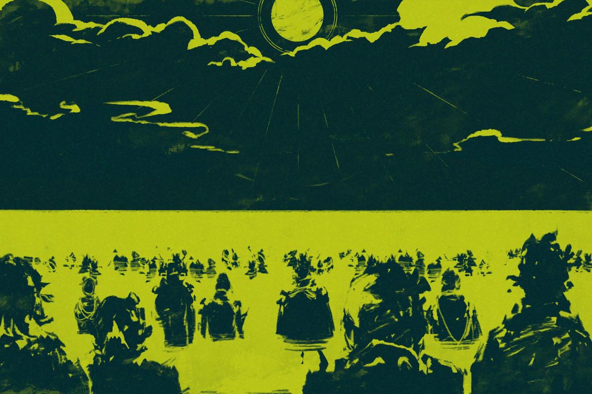 The Shrouded Isle - followers walking in the ocean toward the moon