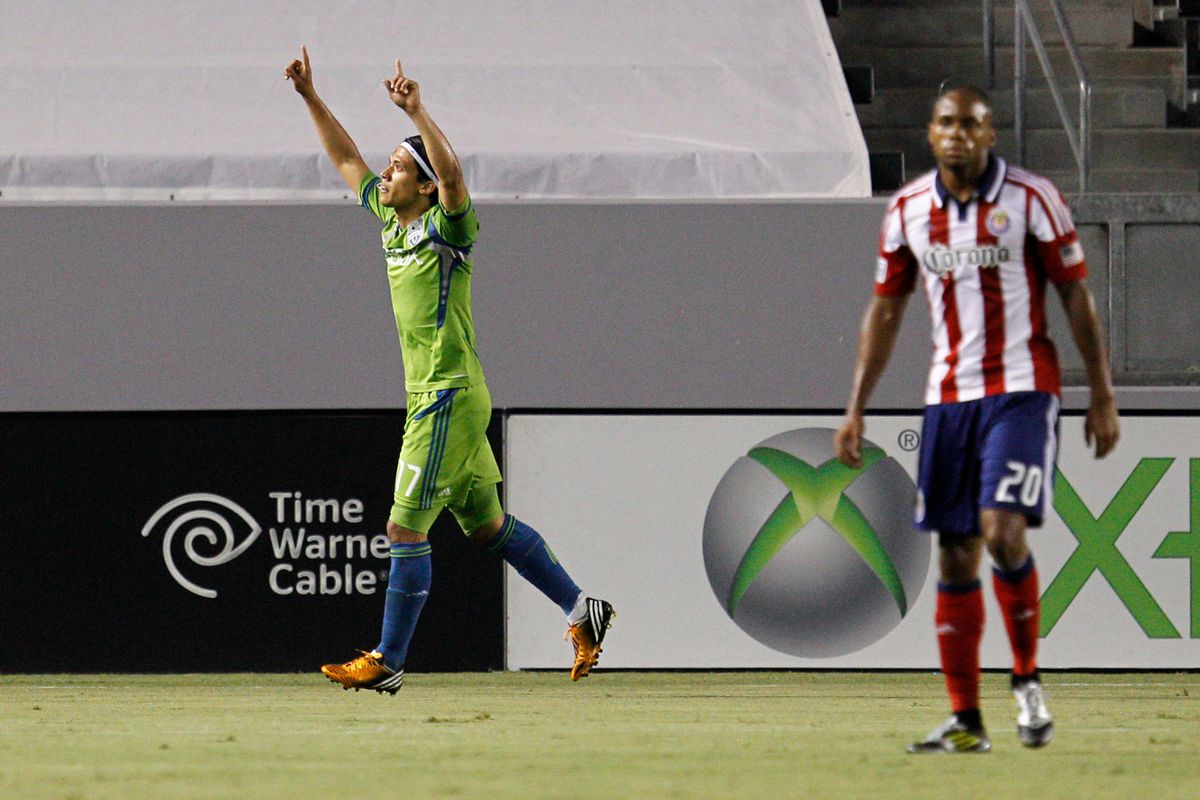 CARSON, CA - AUGUST 25: Fredy Montero #17 of Seattle Sounders FC celebrates his first half goal during the MLS match against Chivas USA at The Home Depot Center on August 25, 2012 in Carson, California. (Photo by Ric Tapia/Getty Images)