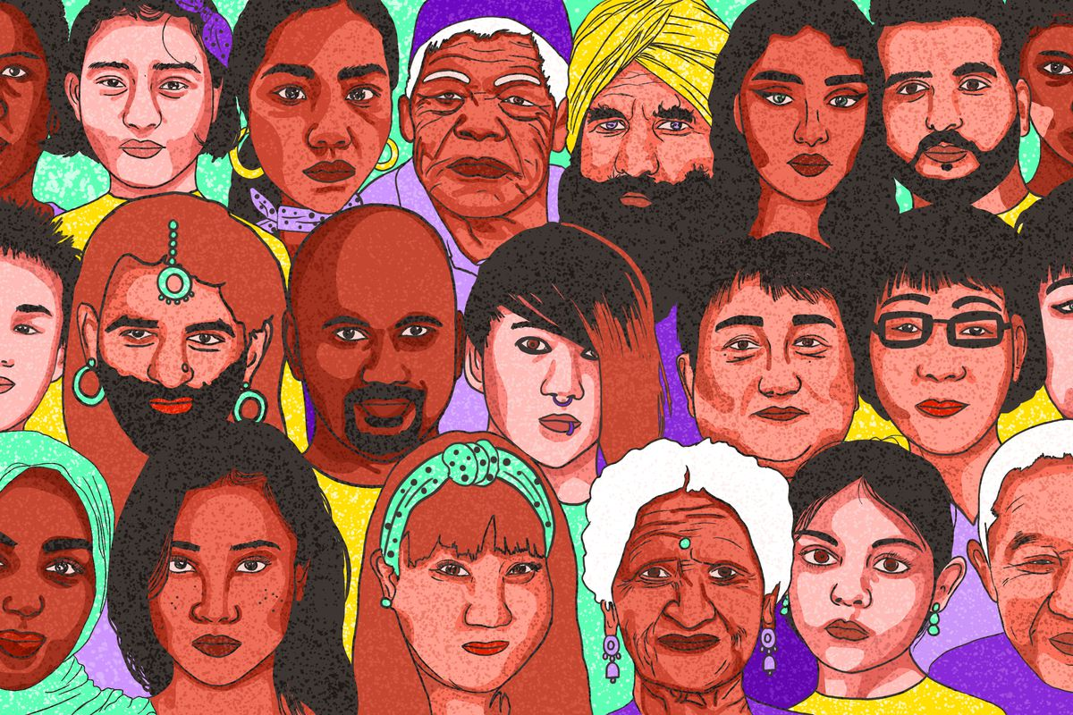 A drawing of many Asian faces.