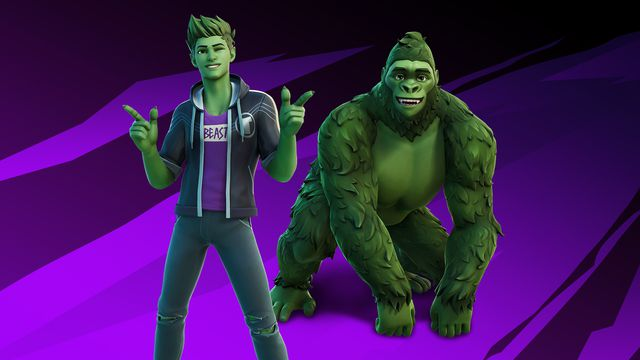 promotional image showing DC Comics' Beast Boy, alongside his gorilla form, in Fortnite