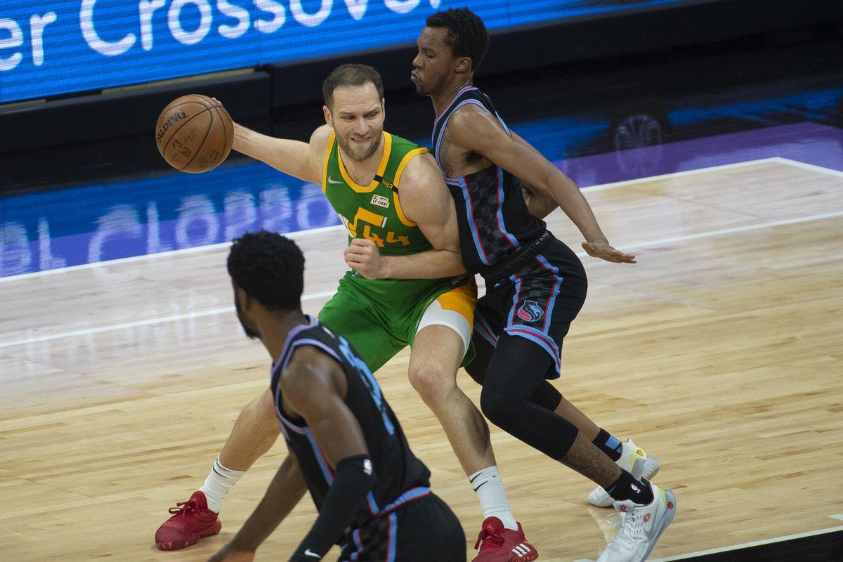 Utah Jazz forward Bojan Bogdanovic drives during game against the Sacramento Kings in Sacramento, Calif., May 16, 2021.