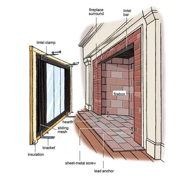 Glass Fireplace Doors Illustration