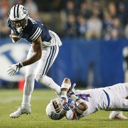 Brigham Young Cougars wide receiver Jonah Trinnaman (3) runs for yards after a catch in Provo on Friday, Oct. 6, 2017.