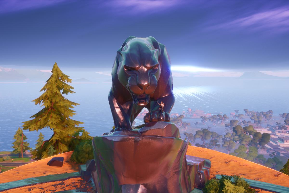 Black Panther monument in Fortnite