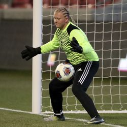Manti goalkeeper watches as the ball flies past her on a penalty kick goal for Morgan during the 3A girls soccer championship game at Rio Tinto Stadium in Sandy on Monday, Oct. 26, 2020.