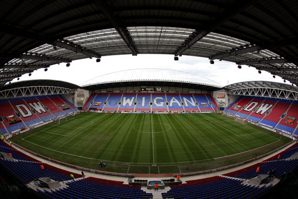 WIGAN, ENGLAND - MARCH 19:  A general view of the stadium before the Barclays Premier League match between Wigan Athletic and Birmingham City at the DW Stadium on March 19, 2011 in Wigan, England.  (Photo by Richard Heathcote/Getty Images)