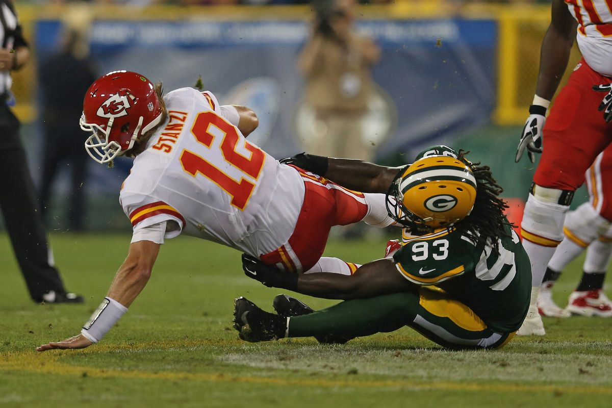 GREEN BAY, WI - AUGUST 30: Erik Walden #93 of the Green Bay Packers sacks Ricky Stanzi #12 of the Kansas City Chiefs during a preseason game at Lambeau Field on August 30, 2012 in Green Bay, Wisconsin. (Photo by Jonathan Daniel/Getty Images)