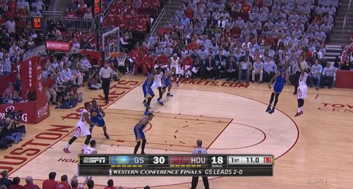 Hand in Harden's face