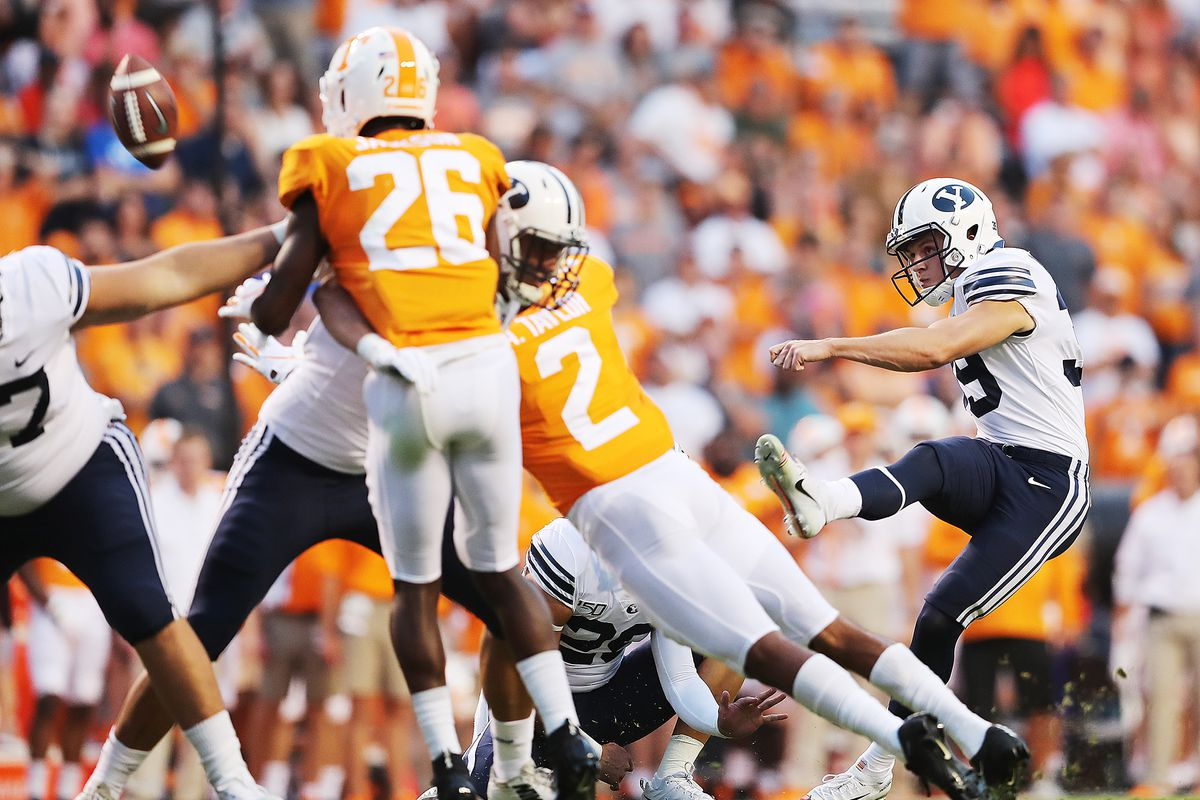BYU kicker Jake Oldroyd (39) kicks a first half field goal as BYU and Tennessee play a game in Knoxville on Saturday, Sept. 7, 2019. BYU went on to win 29-26 in double overtime.