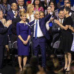 Former Mayor Rahm Emanuel waves as Mayor Lori Lightfoot mentions him during her inaugural address at Wintrust Arena, Monday morning, May 20, 2019.