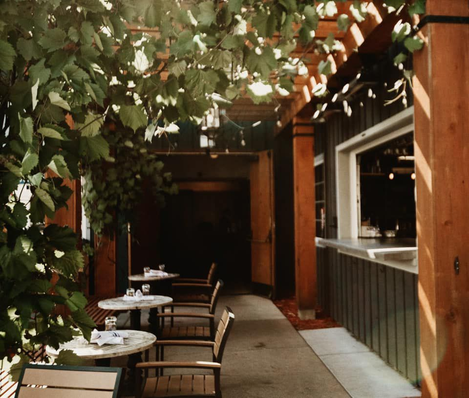 A few bistro seats next to an indoor/outdoor bar window. The seats are nestled under a grapevine trellis. The tables are dappled with sunlight.