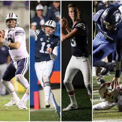 BYU quarterbacks (from left to right) Beau Hoge, Tanner Mangum, Joe Critchlow, Kody Wilstead, Zach Wilson and Koy Detmer.
