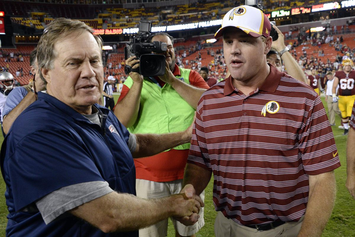 This may be the last time Bill Belichick and Jay Gruden shake hands as head coaches.