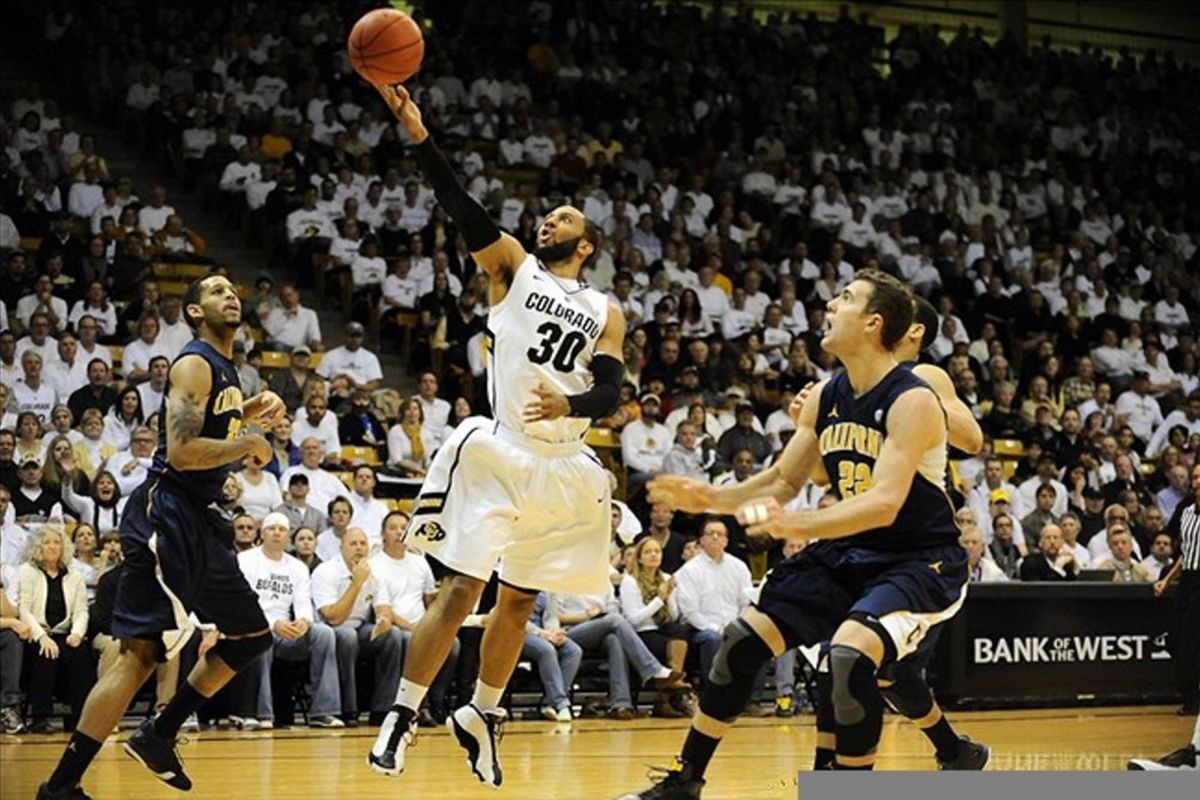 Feb 26, 2012; Boulder,CO,USA; Colorado Buffaloes guard Carlon Brown (30) attempts a basket during the first half of the game against the California Golden Bears at the Coors Events Center. Mandatory Credit: Ron Chenoy-US PRESSWIRE