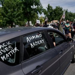 People protest in the wake of the death of George Floyd, who died in police custody in Minneapolis, in Salt Lake City on Saturday, May 30, 2020.