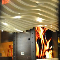"""The background art for a """"flame-effect wall,"""""""
