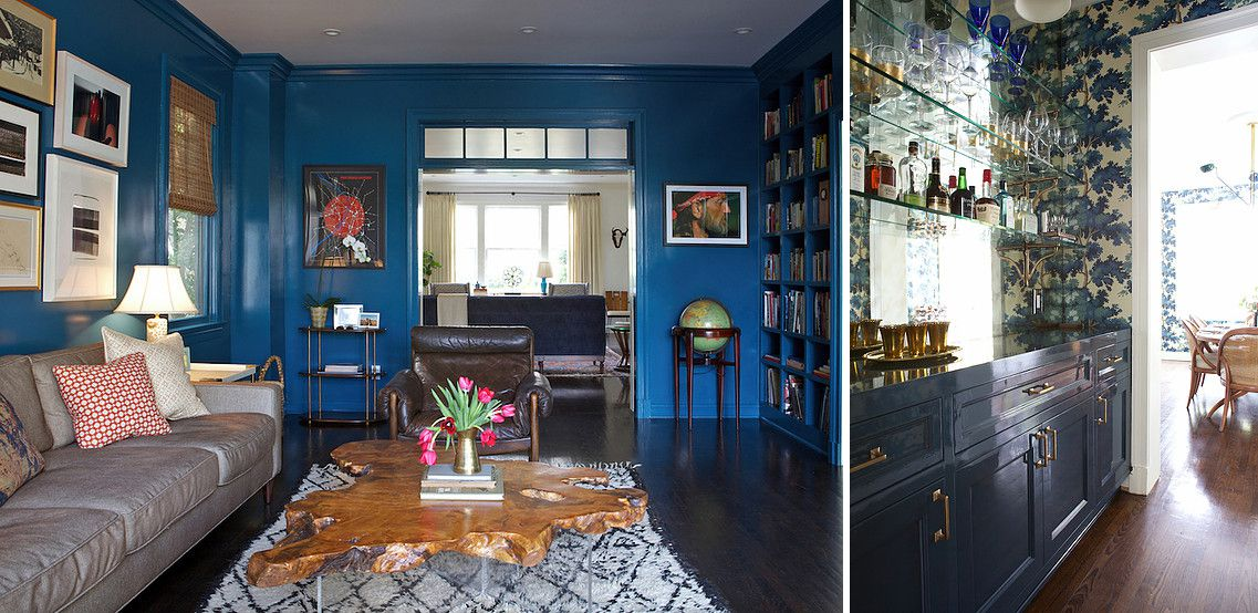 A rich blue den is painted with Academy Blue by Pratt & Lambert and a home bar with deep blue cabinets.