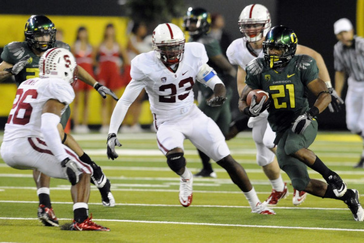 Delano Howell, Austin Yancy, and the Cardinal defense couldn't slow LaMichael James, but the unit has shown signs of improvement this year.