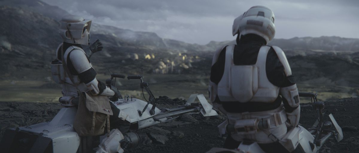 Two imperial scout troopers shooting the shit on a ridge over the spaceport on Navarro in The Mandalorian, chapter 8.
