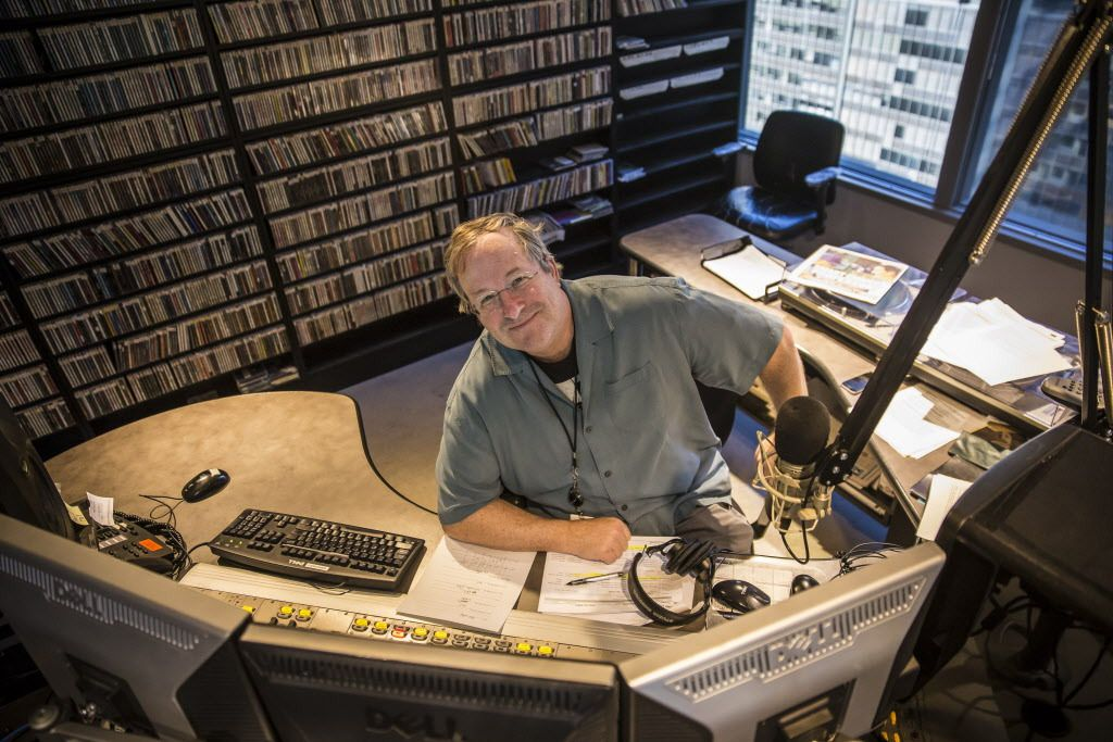 """WXRT's Lin Brehmer in the studio: """"Most of my musical heroes may not be in heaven, they may be in the third ring of the Inferno."""" 