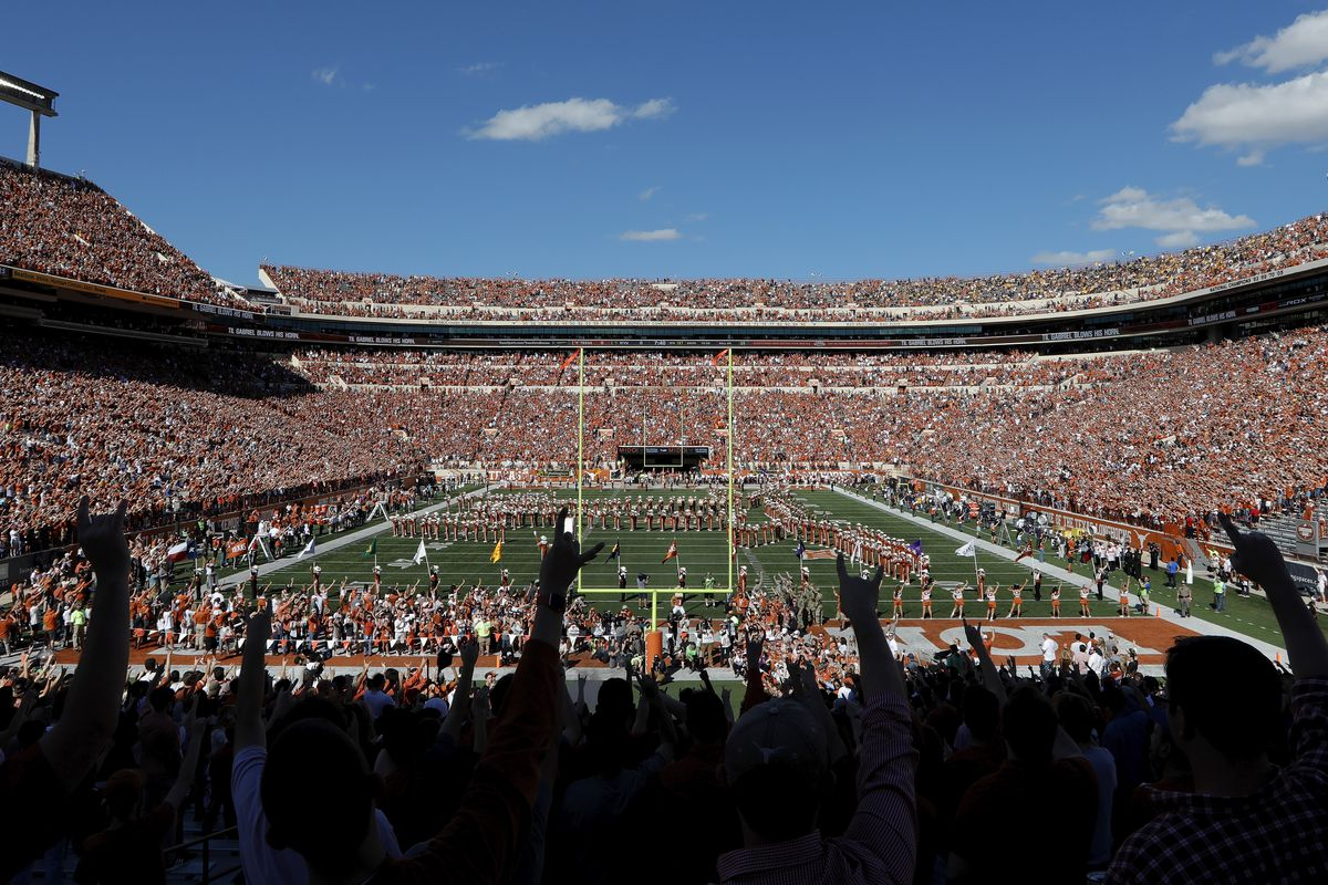 A general view of the stadium before the game between the Texas Longhorns and the West Virginia Mountaineers at Darrell K Royal-Texas Memorial Stadium on November 3, 2018 in Austin, Texas.