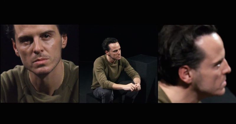A triptych, each looking at actor Andrew Scott from a different angle.
