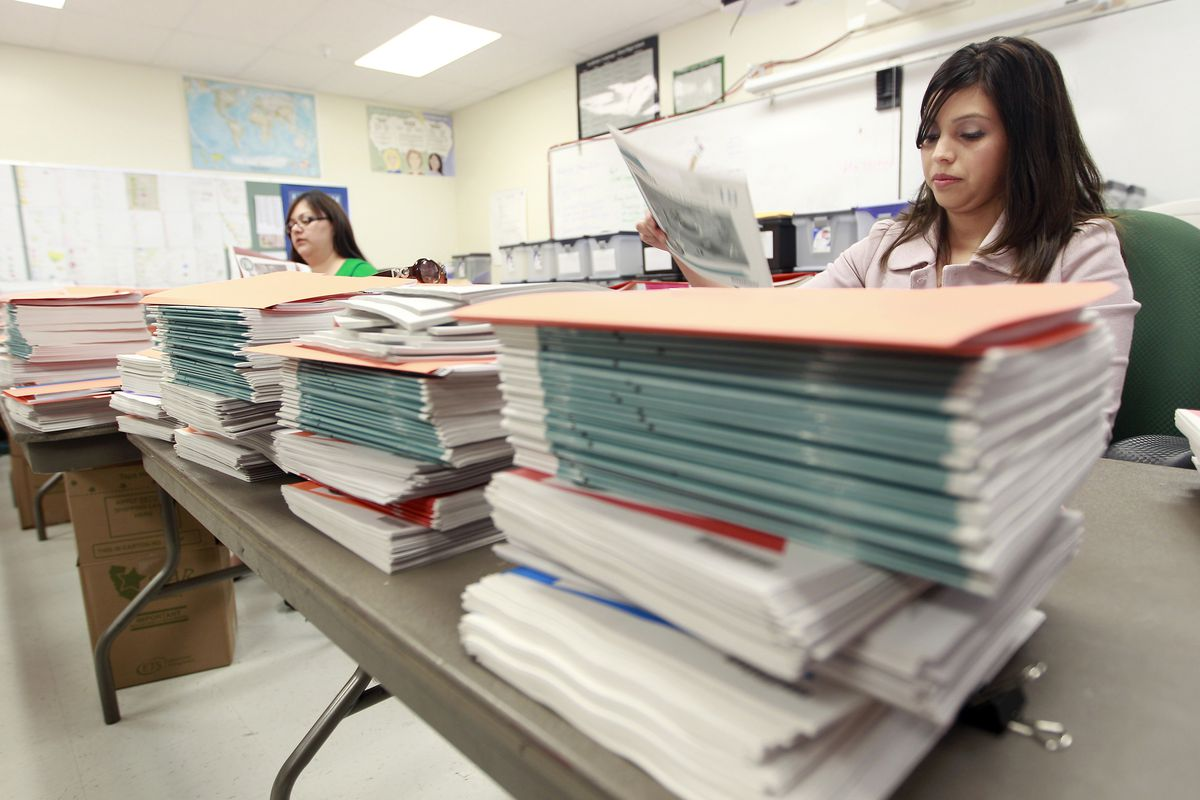 Packets are prepared for California STAR standardized tests