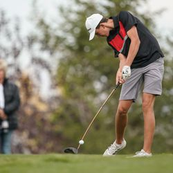 Grantsville High School's Jace Sandberg competes in the 3A boys state championship at Oquirrh Hills Golf Course in Tooele on Thursday, Oct. 7, 2021.