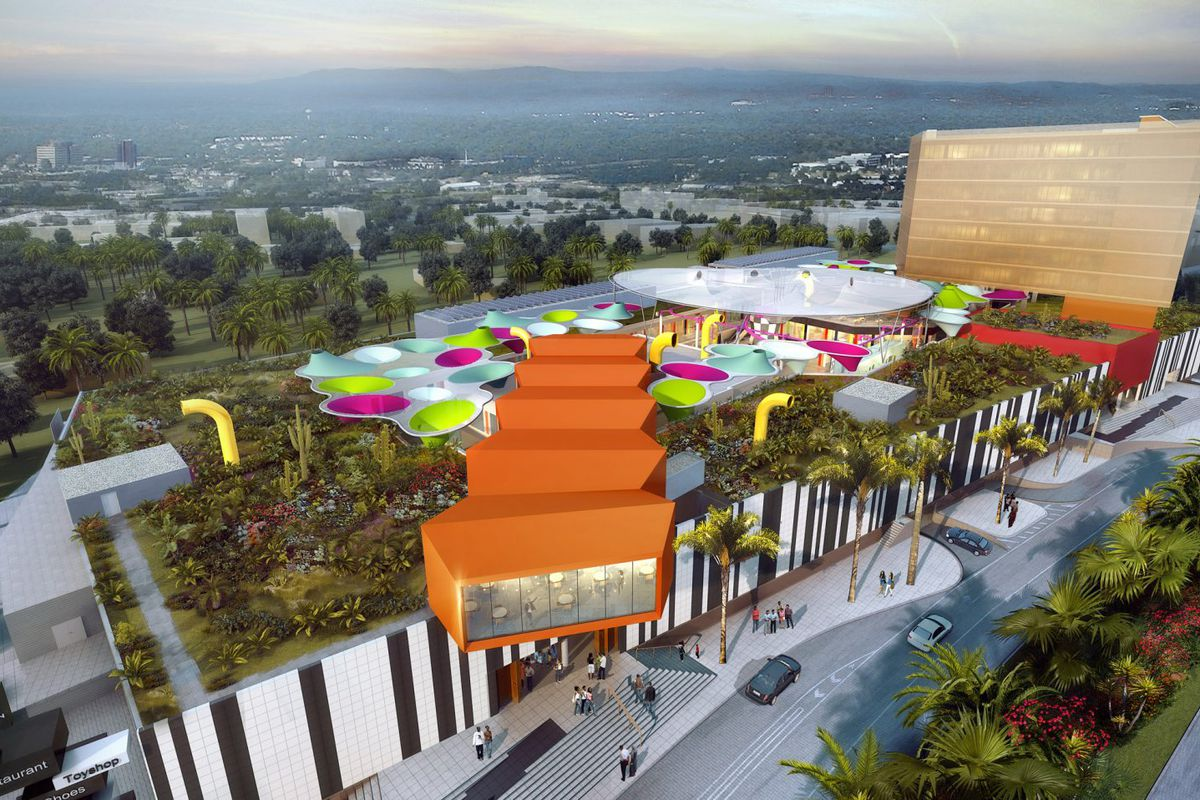 This 2.6 million square foot mall to be built in Nairobi, Kenya, is topped with colorful canopied and lined on the side with monochrome porcelain panels. Mockups for the structure include a rooftop garden and a bar.