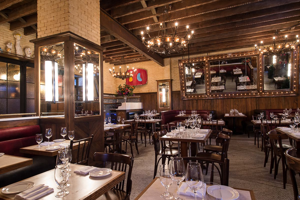 [The dining room at Dirty French. Solid choice for a Friday night meal in late August.]