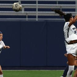 UConn's Isabelle Lynch #22 heads the ball towards goal during the New Hampshire Wildcats vs the UConn Huskies exhibition women's college soccer game at Morrone Stadium at Rizza Performance Center in Storrs, CT, on Saturday August 14, 2021.