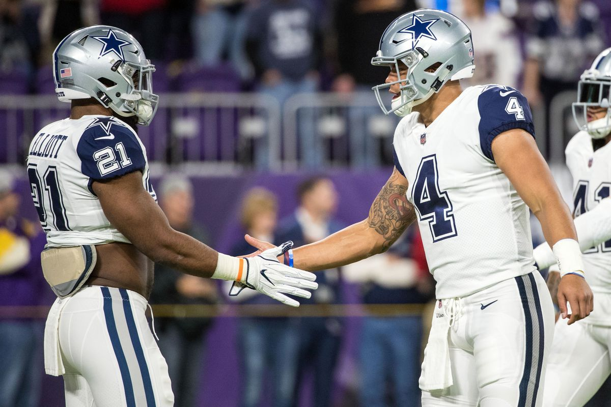 Brace Hemmelgarn-USA TODAY Sports. The Dallas Cowboys  dynamic duo of  running back Ezekiel Elliott and quarterback Dak Prescott ... a6fcb0221