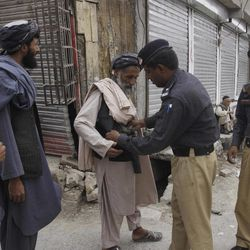 In this Friday, Sept. 7, 2012 photo, Pakistani police searches a worshiper before he can enter the Shiite mosque Imam Bargah Kallah in Pakistan's violent Baluchistan capital of Quetta, Pakistan, where radical Sunni Muslim rivals have terrorized and murdered minority Shiites in a wave of suicide bombings and target killings. In recent years Pakistan's sparsely populated southwestern Baluchistan province has been spiraling deeper into chaos, wracked by a secessionist insurgency that has been overtaken in the last two years by a violent sectarian campaign.