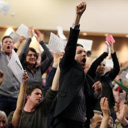 Kevin Garner yells during a town hall meeting with Rep. Jason Chaffetz in Cottonwood Heights on Thursday, Feb. 9, 2017.