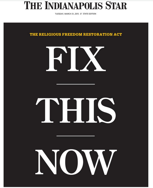 The Indianapolis Star's RFRA cover.