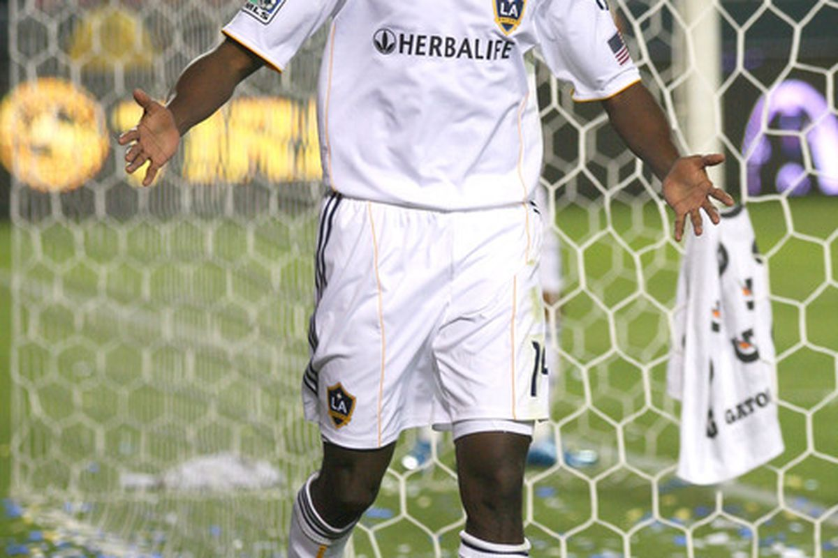 CARSON, CA - APRIL 01:  Edson Buddle #14 of the Los Angeles Galaxy celebrates his first half goal against Chivas USA during their MLS match at the Home Depot Center on April 1, 2010 in Carson, California.  (Photo by Victor Decolongon/Getty Images)