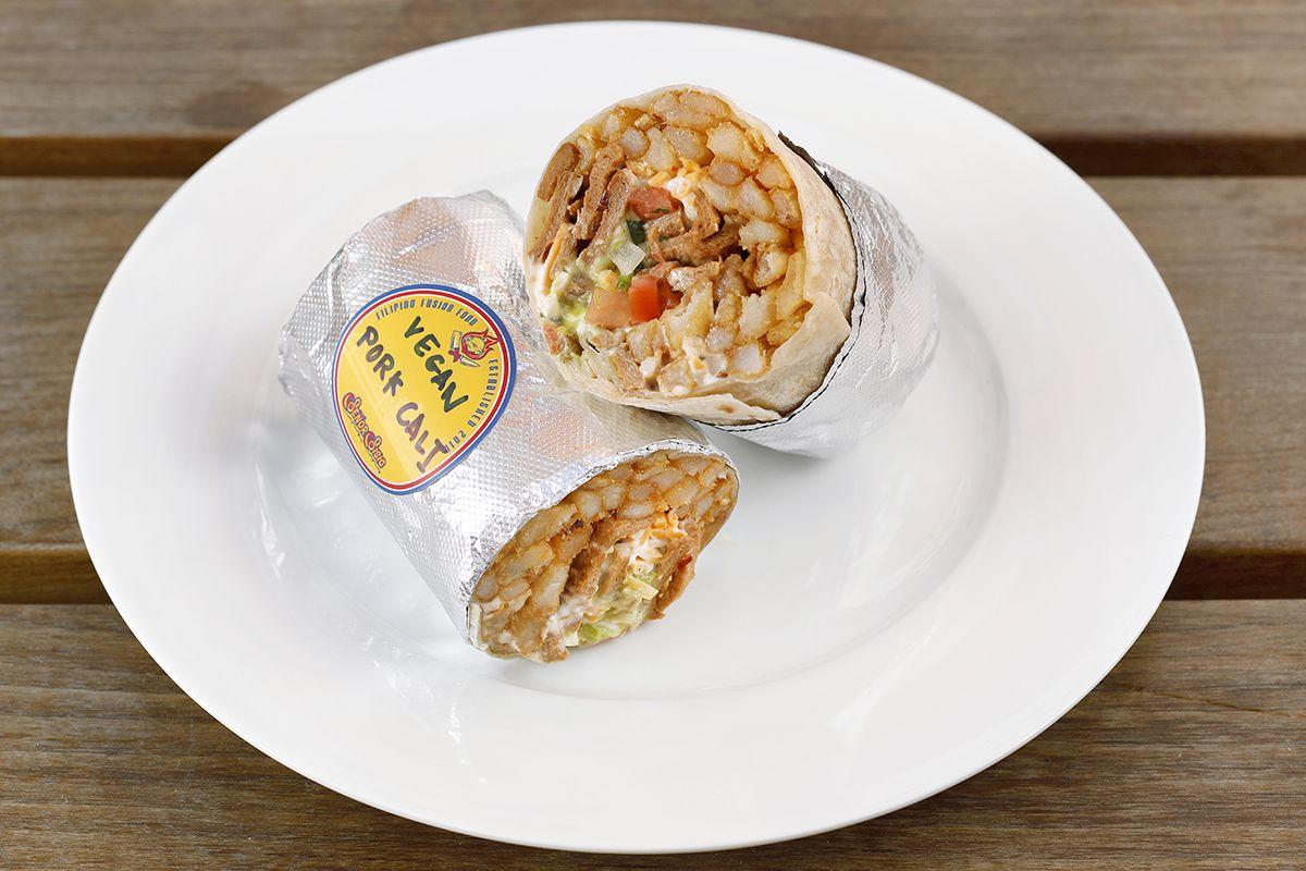 Vegan pork California sisig burrito