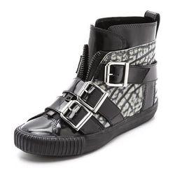 Black Lyon buckle sneakers, $100