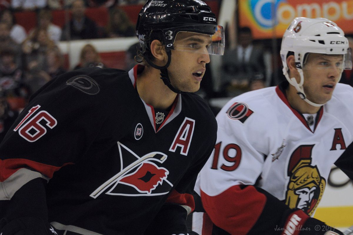 """Brandon Sutter will be keeping tabs on the Sens #19, Jason Spezza, this evening in Ottawa . Photo from when these 2 teams played in Raleigh Oct 25, 2011, via <a href=""""http://farm7.staticflickr.com/6233/6283265240_85ef6b2f16_b.jpg"""">Jamie Kellner</a>"""