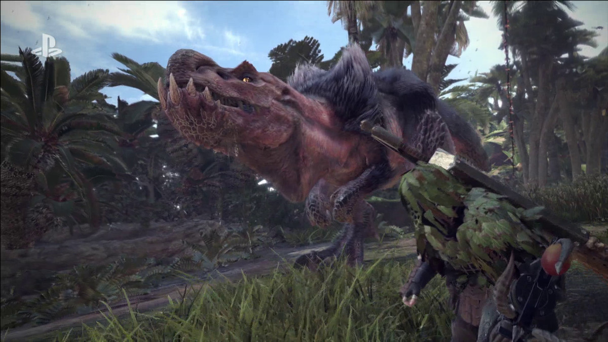 Monster Hunter World - dinosaur and camouflaged hunter