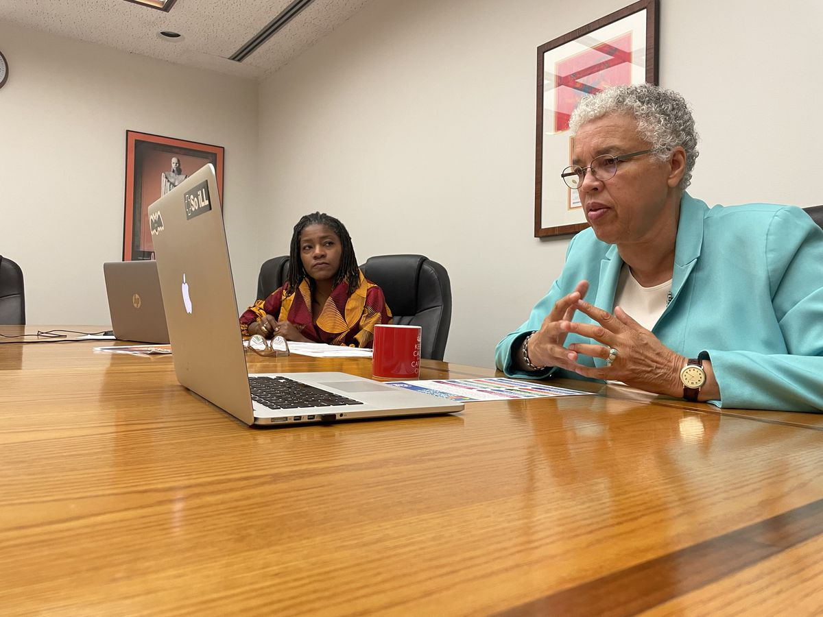 """Cook County Board President Toni Preckwinkle (right) and Director of Equity and Inclusion Denise Barreto prepare for the county's third annual Racial Equity Week. """"I see a lot of people speaking to the issue, and I'm not sure they're doing anything,"""" Preckwinkle said."""