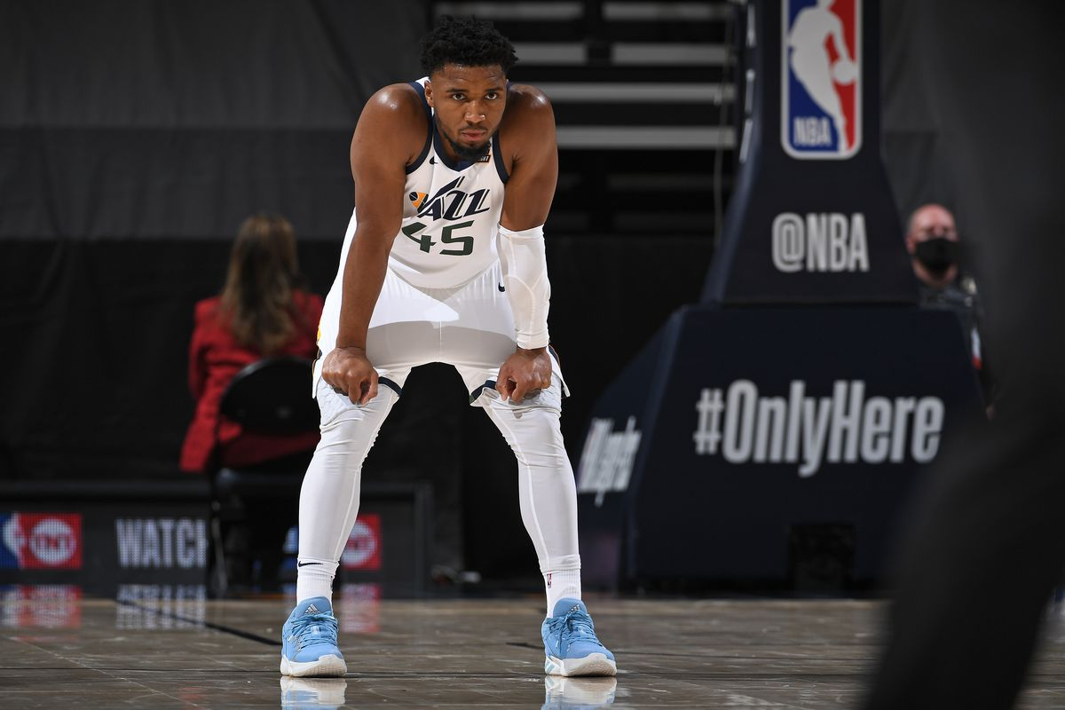 Donovan Mitchell of the Utah Jazz looks on during the game against the New Orleans Pelicans on January 21, 2021 at vivint.SmartHome Arena in Salt Lake City, Utah.
