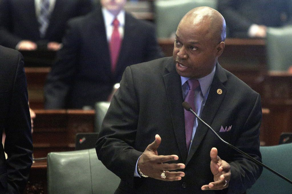 State Rep. Emanuel Chris Welch, D-Hillside, speaks to lawmakers while on the House floor in 2016. (AP File Photo/Seth Perlman)