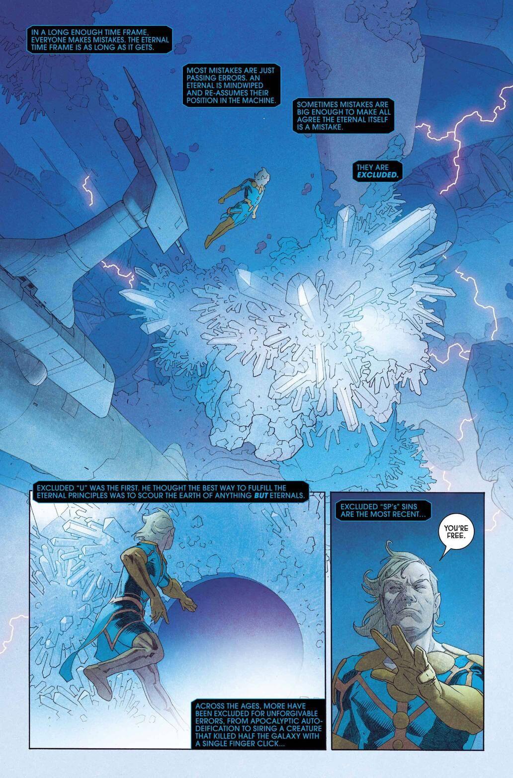 Ikaris flies around a cave of underground crystals