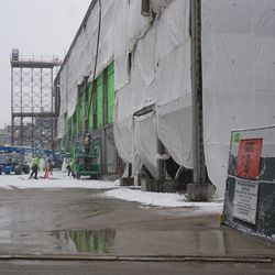 View through the open construction gate on Sheffield Avenue