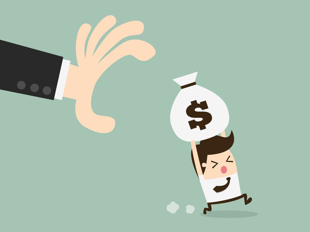 Man with bag of money running away from the arm of the IRS (taxes illustration)