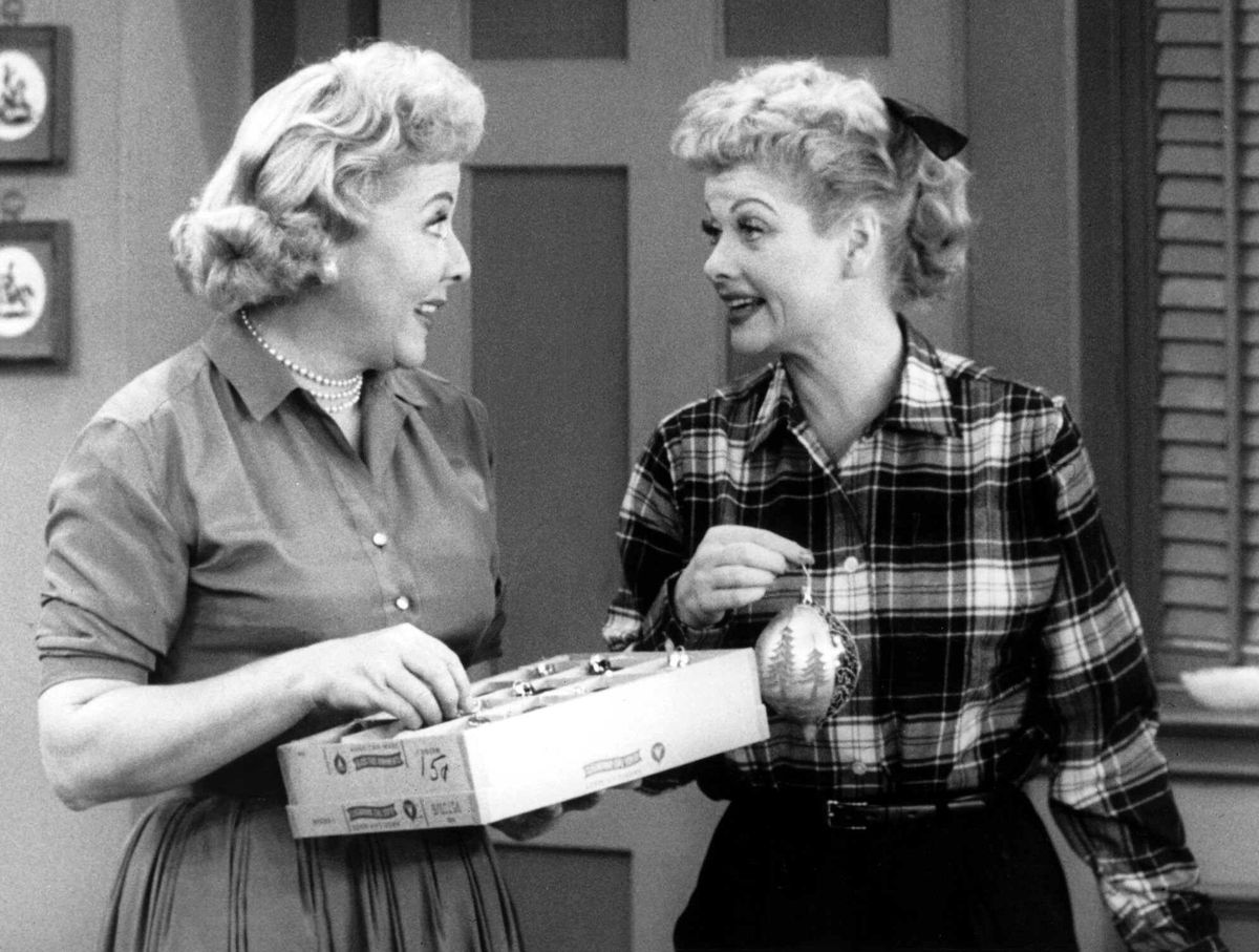 """Vivian Vance (left) and Lucille Ball in a scene from the television series """"I Love Lucy."""""""