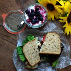 Hearty vegetarian sandwiches and berry delight are delicious options for a late-summer picnic.