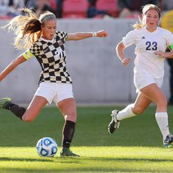 Mikayla Colohan, Davis and Fremont play in the state 5A soccer championship game in Sandy on Friday, Oct. 21, 2016. Davis won 2-1.